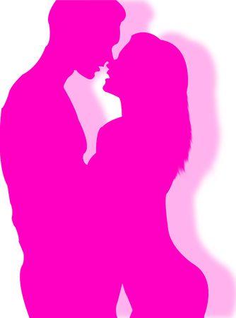 silhouettes lovers: Hombre y una mujer bes�ndose en una pose sexy Foto de archivo