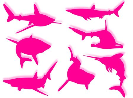 Shark family silhouettes in different poses and attitudes photo