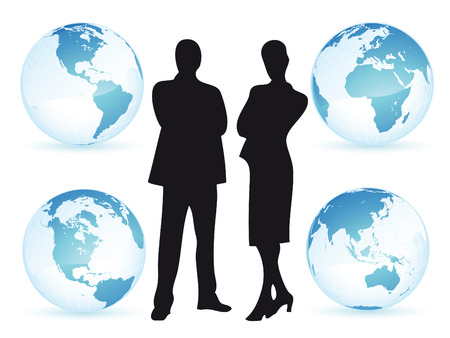 compromise: Hombre de negocios y de la mujer en todo el mundo como concepto de negocio