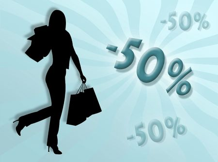 represent: Woman shopping and discounts percentages illustration to represent discount concept