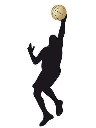 basketball player silhouette with ball in the hand Stock Vector - 5464292