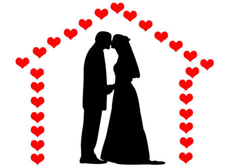 bride silhouette: Man and woman wedding on a hearts house