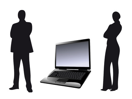 woman laptop: Man and woman with laptop as symbol of business Illustration