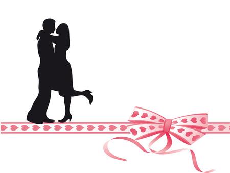 ardor: Amantes bes�ndose en un arco muy colorida