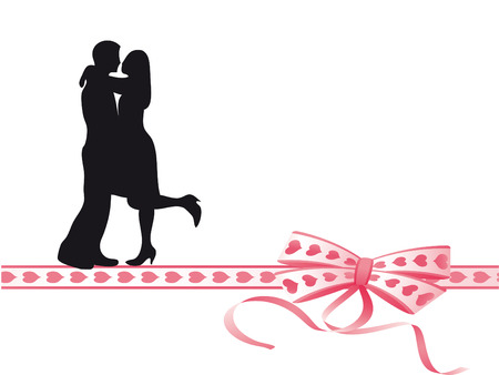 lovers kissing: Lovers kissing on a very colorful bow Illustration