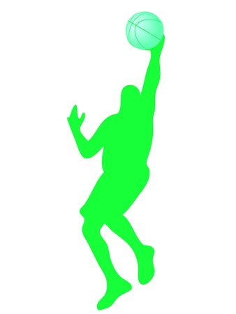 elasticity: basketball player silhouette with ball in the hand
