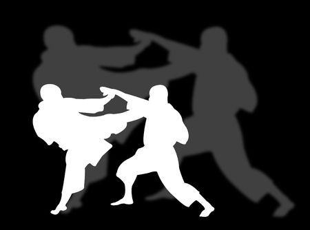 Two men playing karate with shadow on the background Stock Photo