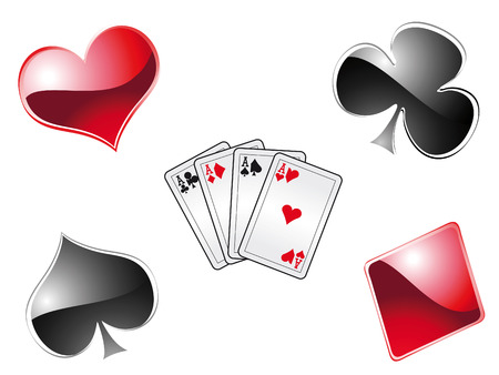 Playing poker with cards in a casino