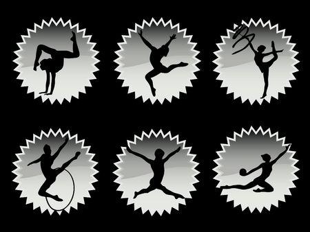 rhythm rhythmic: Young women in rhythmic gymnastics silhouette and exercises Stock Photo