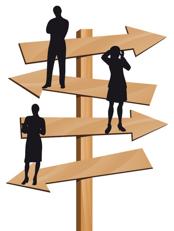 Business people on arrows as symbol of business direction