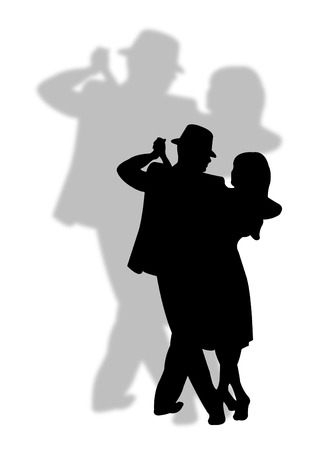 Couple dancing with a great shadow on the background Stock Vector - 5755935