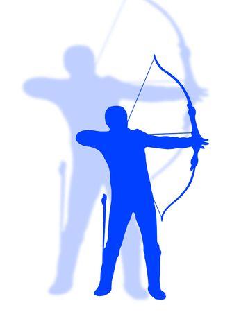 Archer man in silhouette to represent archer sport