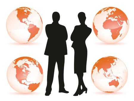 lost world: Business man and woman all around the world as business concept