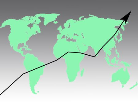 Arrow on the world map to represent business and success Stock Photo - 5773578