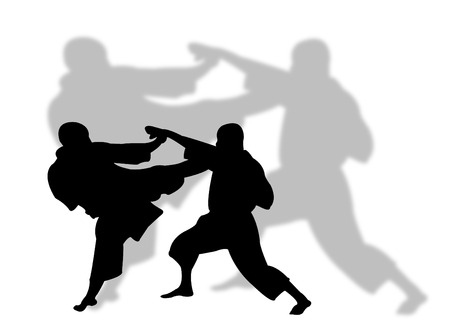 Two men playing karate with shadow on the background Illustration