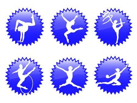 gymnastics silhouette: Young women in rhythmic gymnastics silhouette and exercises Stock Photo