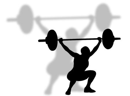 muscle training: Man lifting weights as symbol of sports competition sport Illustration