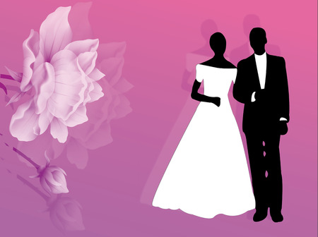 Wedding card with couple and flowers on the background Vector