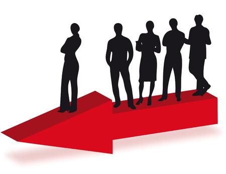 compromise: Gente de negocios sobre la flecha como s�mbolo de negocio en la direcci�n