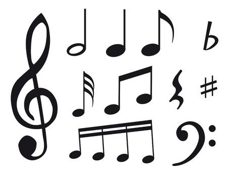 notes de musique: Autre type de notes de musique comme symbole de la feuille de musique  Illustration