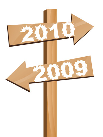 recurrence: 2009 goes away and 2010 arrives in this direction illustration