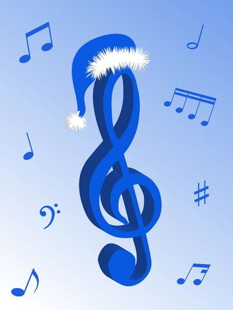 Music notes as symbol of Christmas music and sound