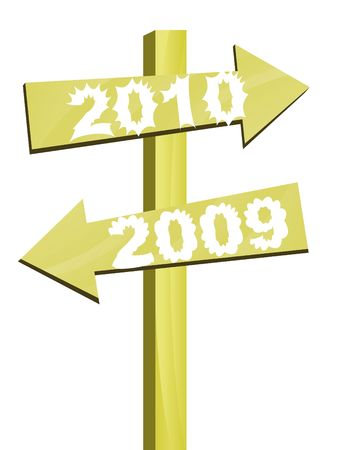 arrives: 2009 goes away and 2010 arrives in this direction illustration