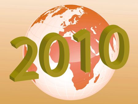 recurrence: New Year on the map as symbol of holidays in the world Stock Photo