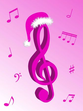 Music notes as symbol of Christmas music and sound photo