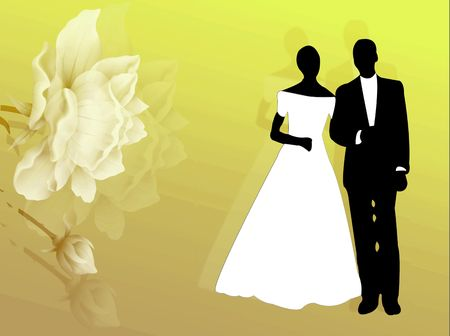 Wedding card with couple and flowers on the background