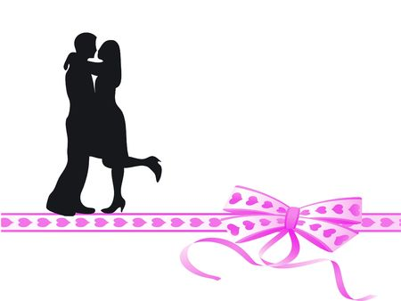 lovers kissing: Lovers kissing on a very colorful bow Stock Photo