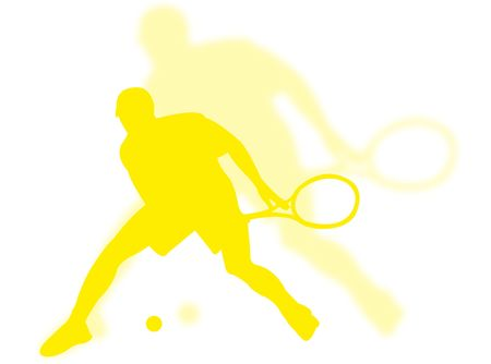 Tennis player with shadow on the background photo