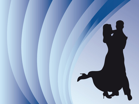 elasticity: Couple dancing on a colorful stage with curtain