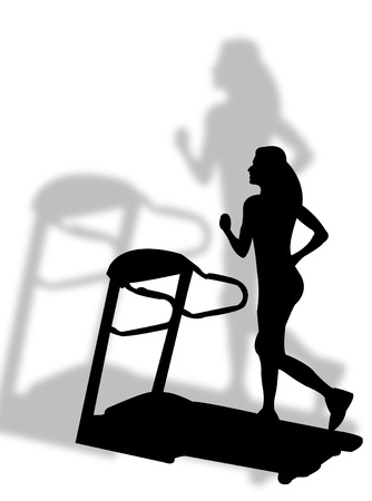 Woman fitness an making jogging on tapis roulant Stock Vector - 6109631