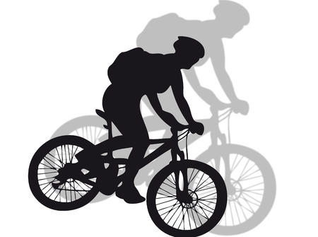 trekking: Mountain bike silhouette with shadow on the background