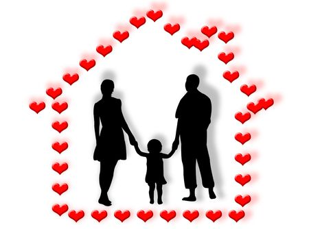 complicity: Family at home made of hearts and love