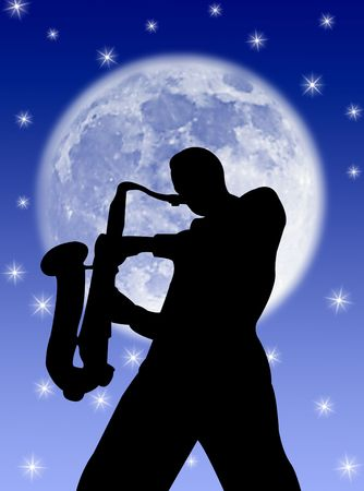 Saxophone player silhouette in the night and in the moon Stock Photo