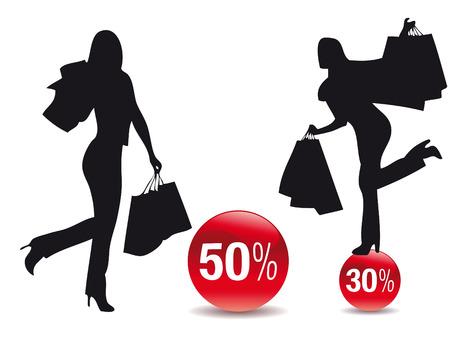 Women silhouette making shopping during seasonal discounts