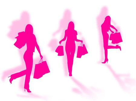 Shopping women silhouettes in different poses with shadows Stock Photo