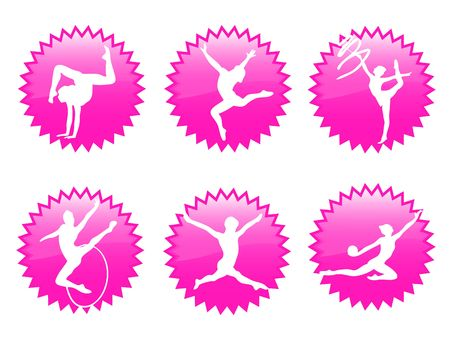 elasticity: Young women in rhythmic gymnastics silhouette and exercises Stock Photo