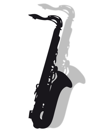 Saxophone instrument in silhouette with shadow