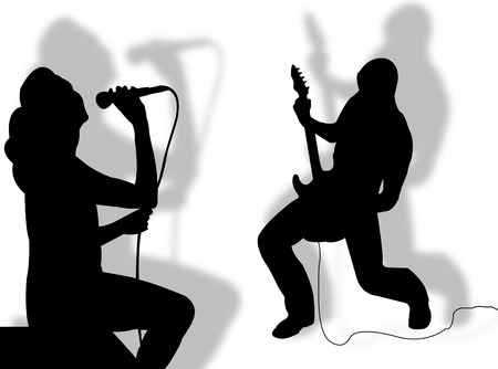 Singer and guitarist playing together as symbol of music