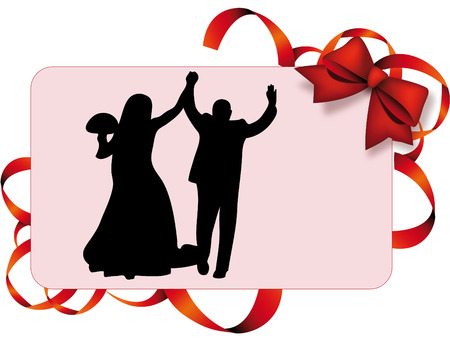 marrying: Man and woman marrying on a decoration card
