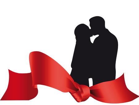 innamorati che si baciano: Amanti della coppia baciare su una colorata decorazione  Vettoriali