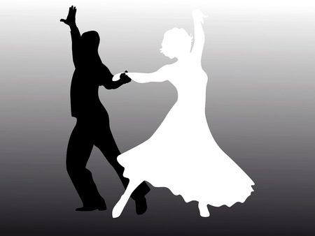 elasticity: Man and woman dancing in black and white Illustration