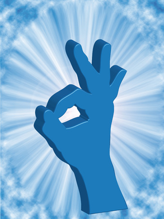 affirmation: Hand man saying OK on the light background