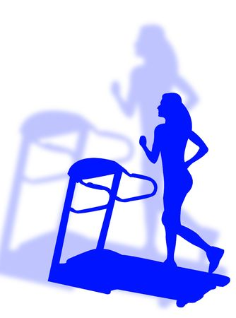 tapis: Woman fitness an making jogging on tapis roulant