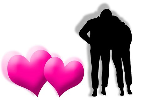 infatuation: Lovers in silhouette with hearts on the background
