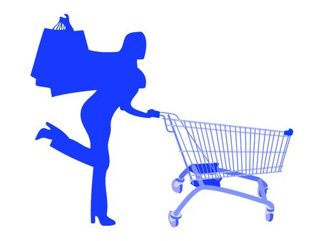 Girl silhouette making shopping during discounts photo