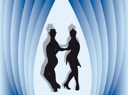 Couple dancing on a colorful stage with curtain Stock Vector - 6443468